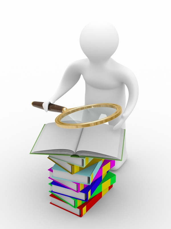 man reads books. Isolated 3D image on white